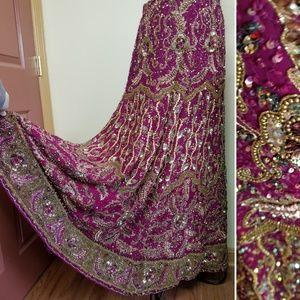 Vintage Indian Lehenga Bridal Maxi Skirt Zardozi